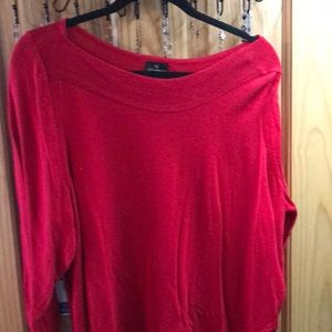 Thin, red sweater with neck detail and 3/4 sleeves